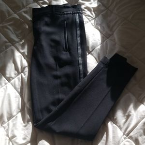 🐱VINCE BLACK WOOL LEATHER TRIM PANT🐱